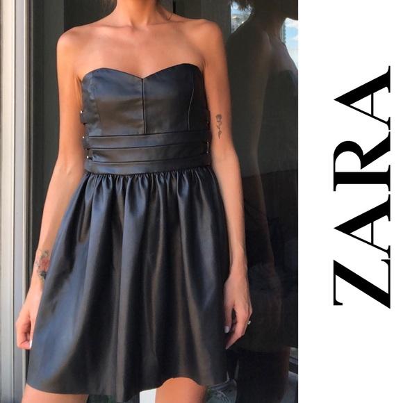 Zara Black Faux Leather Mini Strapless Dress